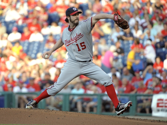Jul 8, 2013; Philadelphia, PA, USA; Washington Nationals starting pitcher Dan Haren (15) throws a pitch against the Philadelphia Phillies in the first inning at Citizens Bank Park. Mandatory Credit: Eric Hartline-USA TODAY Sports