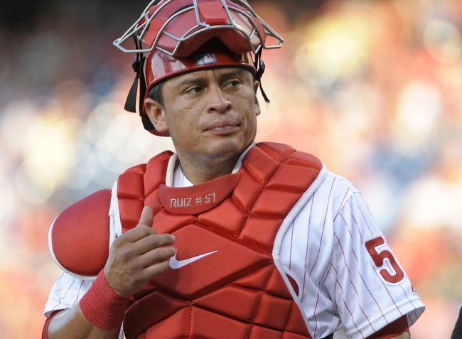 Jul 8, 2013; Philadelphia, PA, USA; Philadelphia Phillies catcher Carlos Ruiz (51) during the game against the Washington Nationals at Citizens Bank Park. The Phillies defeated the Nationals, 3-2. Mandatory Credit: Eric Hartline-USA TODAY Sports