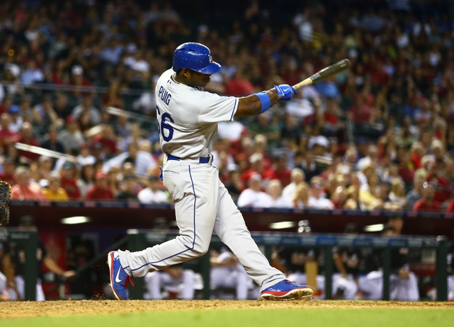 Jul. 8, 2013; Phoenix, AZ, USA: Los Angeles Dodgers outfielder Yasiel Puig against the Arizona Diamondbacks at Chase Field. Mandatory Credit: Mark J. Rebilas-USA TODAY Sports