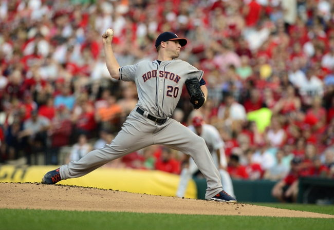 Jul 9, 2013; St. Louis, MO, USA; Houston Astros starting pitcher Bud Norris (20) throws to a St. Louis Cardinals batter during the first inning at Busch Stadium. Mandatory Credit: Jeff Curry-USA TODAY Sports