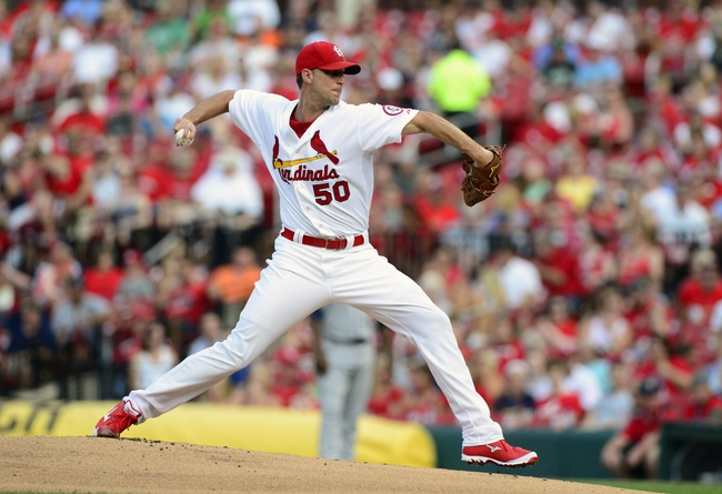 Jul 9, 2013; St. Louis, MO, USA; St. Louis Cardinals starting pitcher Adam Wainwright (50) throws to a Houston Astros batter during the first inning at Busch Stadium. Mandatory Credit: Jeff Curry-USA TODAY Sports