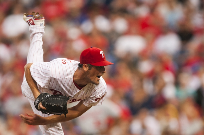 Jul 9, 2013; Philadelphia, PA, USA; Philadelphia Phillies pitcher Cole Hamels (35) delivers to the plate during the fourth inning against the Washington Nationals at Citizens Bank Park. The Phillies defeated the Nationals 4-2. Mandatory Credit: Howard Smith-USA TODAY Sports