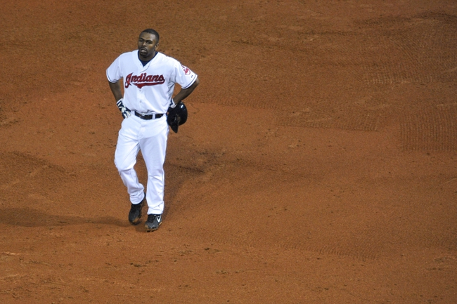 Jul 8, 2013; Cleveland, OH, USA; Cleveland Indians center fielder Michael Bourn (24) after caught stealing during a game against the Detroit Tigers at Progressive Field. Detroit won 4-2. Mandatory Credit: David Richard-USA TODAY Sports