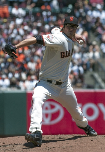 Jul 10, 2013; San Francisco, CA, USA; San Francisco Giants pitcher Michael Kickham (59) pitches in relief against the New York Mets during the first inning at AT&T Park. Mandatory Credit: Ed Szczepanski-USA TODAY Sports