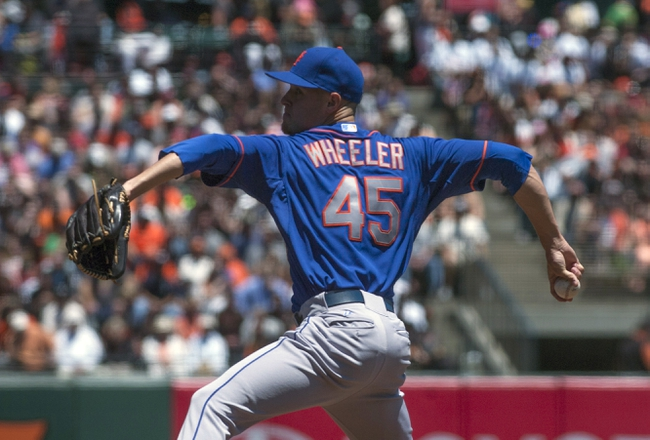 Jul 10, 2013; San Francisco, CA, USA; New York Mets starting pitcher Zack Wheeler (45) pitches against the San Francisco Giants during the first inning at AT&T Park. Mandatory Credit: Ed Szczepanski-USA TODAY Sports