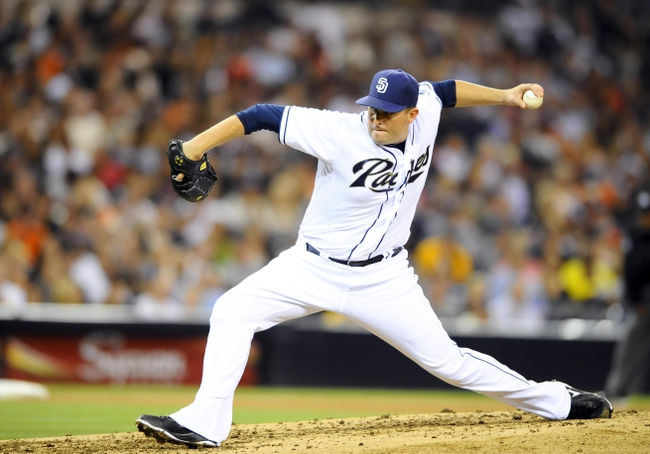 Jul 11, 2013; San Diego, CA, USA; San Diego Padres relief pitcher Joe Thatcher (54) throws during the sixth inning against the San Francisco Giants at Petco Park. Mandatory Credit: Christopher Hanewinckel-USA TODAY Sports