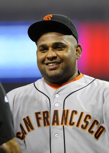 Jul 11, 2013; San Diego, CA, USA; San Francisco Giants third baseman Pablo Sandoval (48) after a 4-2 win against the San Diego Padres at Petco Park. Mandatory Credit: Christopher Hanewinckel-USA TODAY Sports