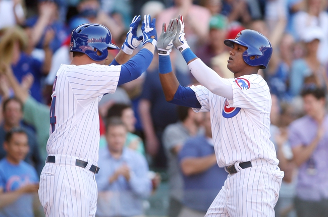 Jul 12, 2013; Chicago, IL, USA; Chicago Cubs shortstop Starlin Castro (right) celebrates with first baseman Anthony Rizzo (44) after hitting a solo home run against the St. Louis Cardinals during the eighth inning at Wrigley Field. Mandatory Credit: Jerry Lai-USA TODAY Sports