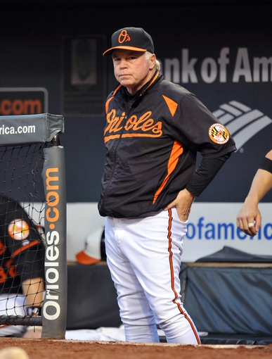 Jul 12, 2013; Baltimore, MD, USA; Baltimore Orioles manager Buck Showalter (26) during a game against the Toronto Blue Jays at Oriole Park at Camden Yards. Mandatory Credit: Joy R. Absalon-USA TODAY Sports