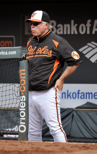 Jul 13, 2013; Baltimore, MD, USA; Baltimore Orioles manager Buck Showalter (26) in the dugout during the third inning against the Toronto Blue Jays at Oriole Park at Camden Yards. Mandatory Credit: Joy R. Absalon-USA TODAY Sports