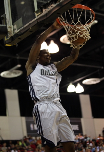 Jul 13, 2013; Las Vegas, NV, USA; Dallas Mavericks guard Ricky Ledo dunks the ball against the Sacramento Kings during the third quarter of a Summer League game at Cox Pavillion. Mandatory Credit: Stephen R. Sylvanie-USA TODAY Sports