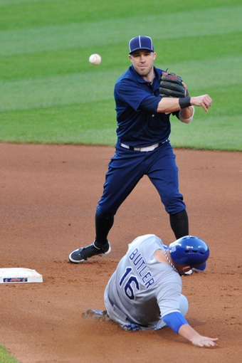 Jul 13, 2013; Cleveland, OH, USA; Cleveland Indians second baseman Jason Kipnis (22) turns a double play over Kansas City Royals designated hitter Billy Butler (16) in the fourth inning at Progressive Field. Mandatory Credit: David Richard-USA TODAY Sports