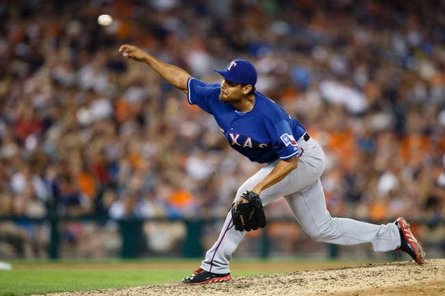 July 13, 2013; Detroit, MI, USA; Texas Rangers relief pitcher Joakim Soria (28) pitches in the eighth inning against the Detroit Tigers at Comerica Park. Mandatory Credit: Rick Osentoski-USA TODAY Sports