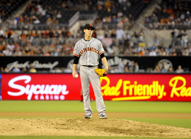 Jul 13, 2013; San Diego, CA, USA; San Francisco Giants starting pitcher Tim Lincecum (55) during the ninth inning against the San Diego Padres at Petco Park. Mandatory Credit: Christopher Hanewinckel-USA TODAY Sports