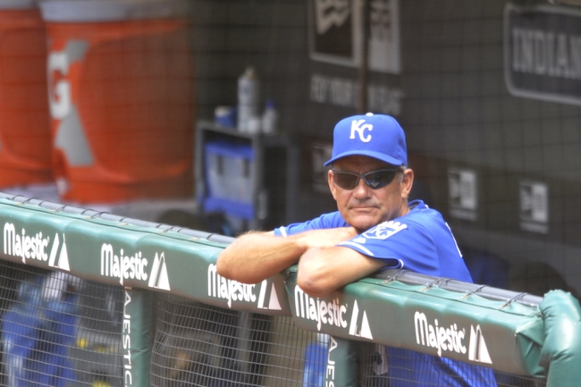 Jul 14, 2013; Cleveland, OH, USA; Kansas City Royals hitting coach George Brett (5) watches in the sixth inning against the Cleveland Indians at Progressive Field. Mandatory Credit: David Richard-USA TODAY Sports