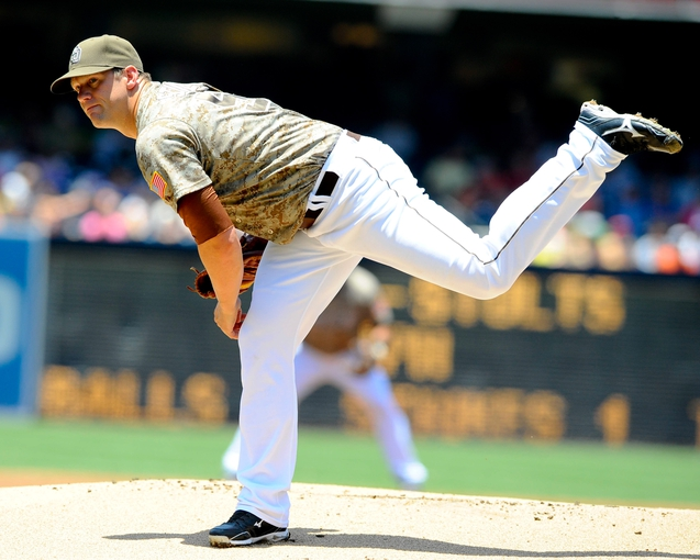 Jul 14, 2013; San Diego, CA, USA; San Diego Padres starting pitcher Eric Stults (53) throws during the first inning against the San Francisco Giants at Petco Park. Mandatory Credit: Christopher Hanewinckel-USA TODAY Sports