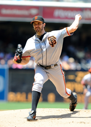Jul 14, 2013; San Diego, CA, USA; San Francisco Giants starting pitcher Barry Zito (75) throws during the first inning against the San Diego Padres at Petco Park. Mandatory Credit: Christopher Hanewinckel-USA TODAY Sports