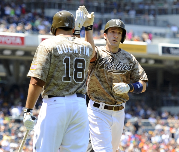 Jul 14, 2013; San Diego, CA, USA; San Diego Padres right fielder Chris Denorfia (13) is congratulated by left fielder Carlos Quentin (18) after a home run during the first inning against the San Francisco Giants at Petco Park. Mandatory Credit: Christopher Hanewinckel-USA TODAY Sports
