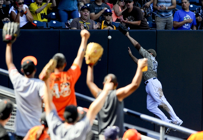 Jul 14, 2013; San Diego, CA, USA; San Francisco Giants fans cheer as San Diego Padres left fielder Carlos Quentin (18) misses a ball in the corner during the seventh inning at Petco Park. Mandatory Credit: Christopher Hanewinckel-USA TODAY Sports