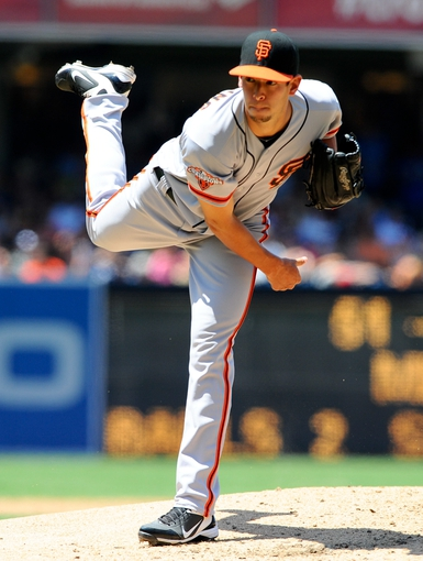 Jul 14, 2013; San Diego, CA, USA; San Francisco Giants  relief pitcher Jake Dunning (51) throws during the third inning against the San Diego Padres at Petco Park. Mandatory Credit: Christopher Hanewinckel-USA TODAY Sports