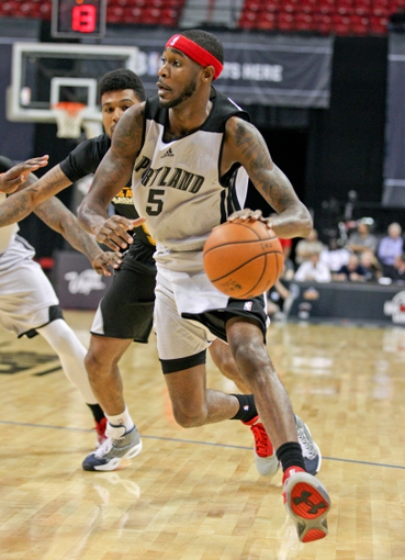 Jul 14, 2013; Las Vegas, NV, USA; Portland Trailblazers guard Will Barton dribbles towards the basket during an NBA Summer League game against the Los Angeles Lakers at the Thomas and Mack Center. Mandatory Credit: Stephen R. Sylvanie-USA TODAY Sports