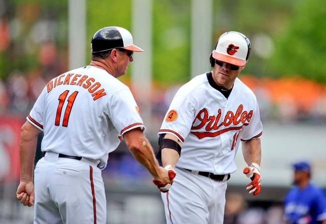 Jul 14, 2013; Baltimore, MD, USA; Baltimore Orioles first baseman Chris Davis (19) is congratulated by third base coach Bobby Dickerson (11) after hitting a two-run home run in the third inning against the Toronto Blue Jays at Oriole Park at Camden Yards. Mandatory Credit: Joy R. Absalon-USA TODAY Sports