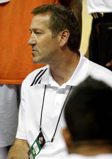 Jul 15, 2013; Las Vegas, NV, USA; Phoenix Suns head coach Jeff Hornacek listens to a player during a time out against the Minnesota Timberwolves in an NBA Summer League game at the Thomas and Mack Center. Mandatory Credit: Stephen R. Sylvanie-USA TODAY Sports