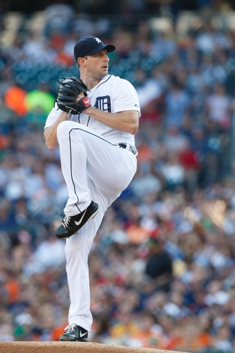 July 13, 2013; Detroit, MI, USA; Detroit Tigers starting pitcher Max Scherzer (37) pitches against the Texas Rangers at Comerica Park. Mandatory Credit: Rick Osentoski-USA TODAY Sports