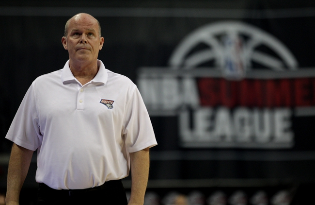 Jul 18, 2013; Las Vegas, NV, USA; Charlotte Bobcats head coach Steve Clifford walks back to the bench after discussing a call with an official during an NBA Summer League game against the Memphis Grizzlies at the Thomas and Mack Center. Mandatory Credit: Stephen R. Sylvanie-USA TODAY Sports