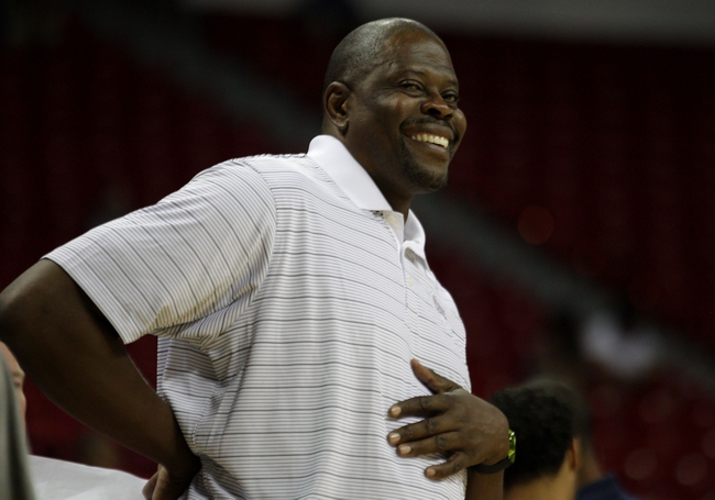 Jul 18, 2013; Las Vegas, NV, USA; Charlotte Bobcats Associate Head Coach Patrick Ewing is pictured during a timeout from an NBA Summer League game against the Memphis Grizzlies at the Thomas and Mack Center. Mandatory Credit: Stephen R. Sylvanie-USA TODAY Sports