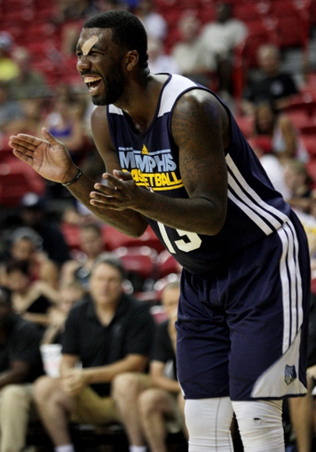 Jul 18, 2013; Las Vegas, NV, USA; Memphis Grizzlies forward Donte Green applauds the efforts of his team as they make make a comeback to bring the score within two points of the Charlotte Bobcats during an NBA Summer League game at the Thomas and Mack. Charlotte won the game 92-84. Mandatory Credit: Stephen R. Sylvanie-USA TODAY Sports