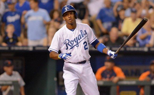 Jul 19, 2013; Kansas City, MO, USA; Kansas City Royals shortstop Alcides Escobar (2) reacts to striking out with the bases loaded in the sixth inning of the game against the Detroit Tigers at Kauffman Stadium. Mandatory Credit: Denny Medley-USA TODAY Sports