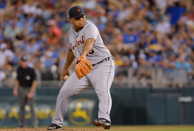 Jul 19, 2013; Kansas City, MO, USA; Detroit Tigers relief pitcher Bruce Rondon (43) delivers a pitch in the eighth inning of the game against the Kansas City Royals at Kauffman Stadium. The Royals won 1-0. Mandatory Credit: Denny Medley-USA TODAY Sports