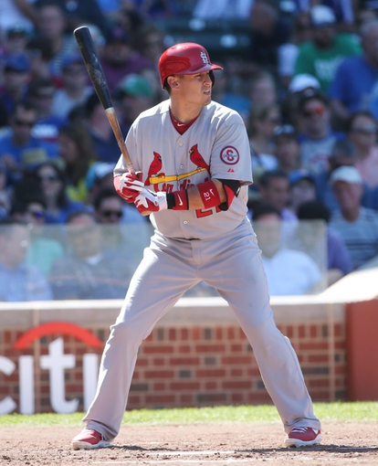 Jul 12, 2013; Chicago, IL, USA; St. Louis Cardinals first baseman Allen Craig at bat against the Chicago Cubs during the third inning at Wrigley Field. Mandatory Credit: Jerry Lai-USA TODAY Sports