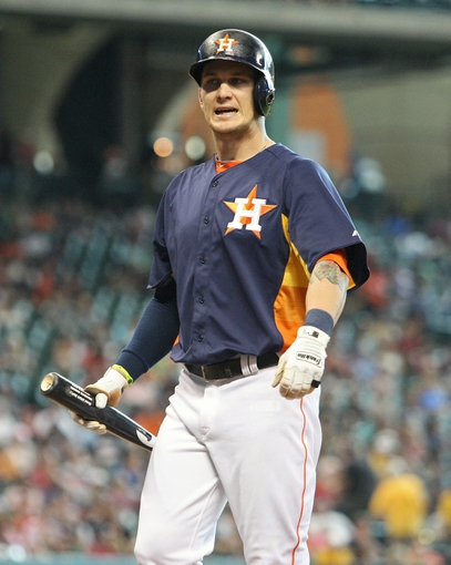 Jul 21, 2013; Houston, TX, USA; Houston Astros center fielder Brandon Barnes (2) reacts after striking out during the fifth inning against the Seattle Mariners at Minute Maid Park. Mandatory Credit: Troy Taormina-USA TODAY Sports