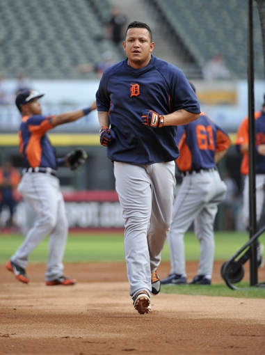 Jul 22, 2013; Chicago, IL, USA; Detroit Tigers third baseman Miguel Cabrera (24) runs the bases during batting practice before the game against the Chicago White Sox at U.S. Cellular Field. Mandatory Credit: David Banks-USA TODAY Sports