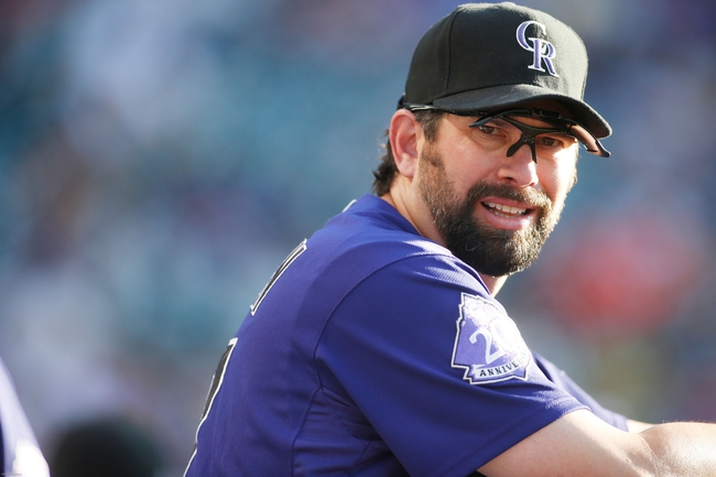 Jul 22, 2013; Denver, CO, USA; Colorado Rockies first baseman Todd Helton (17) before the first inning against the Miami Marlins at Coors Field. Mandatory Credit: Chris Humphreys-USA TODAY Sports