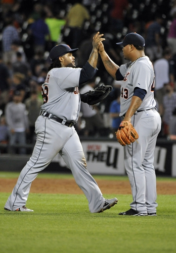 Jul 22, 2013; Chicago, IL, USA; Detroit Tigers first baseman Prince Fielder (28) and relief pitcher Bruce Rondon (43) celebrate their win against the Chicago White Sox at U.S. Cellular Field. The Detroit Tigers defeated the Chicago White Sox 7-3. Mandatory Credit: David Banks-USA TODAY Sports