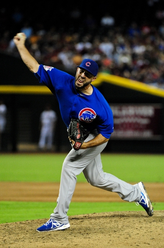 Jul 22, 2013; Phoenix, AZ, USA;  Chicago Cubs relief pitcher Blake Parker (50) throws during the sixth inning against the Arizona Diamondbacks at Chase Field. Mandatory Credit: Matt Kartozian-USA TODAY Sports