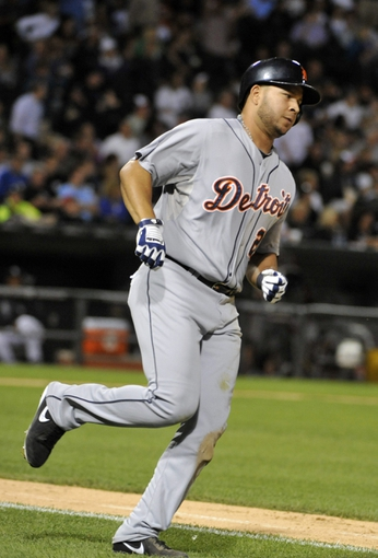Jul 23, 2013; Chicago, IL, USA; Detroit Tigers shortstop Jhonny Peralta (27) runs the bases after hitting a home-run against the Chicago White Sox during the sixth inning at U.S Cellular Field. Mandatory Credit: David Banks-USA TODAY Sports