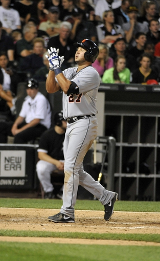 Jul 23, 2013; Chicago, IL, USA; Detroit Tigers shortstop Jhonny Peralta (27) reacts after hitting a home-run against the Chicago White Sox during the sixth inning at U.S Cellular Field. Mandatory Credit: David Banks-USA TODAY Sports