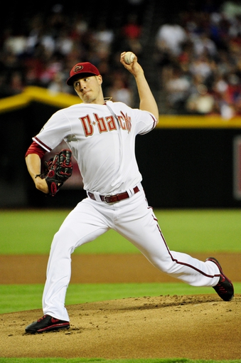 Jul 23, 2013; Phoenix, AZ, USA; Arizona Diamondbacks starting pitcher Patrick Corbin (46) throws during the first inning against the Chicago Cubs at Chase Field. Mandatory Credit: Matt Kartozian-USA TODAY Sports