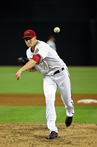 Jul 23, 2013; Phoenix, AZ, USA; Arizona Diamondbacks starting pitcher Patrick Corbin (46) throws during the third inning against the Chicago Cubs at Chase Field. Mandatory Credit: Matt Kartozian-USA TODAY Sports