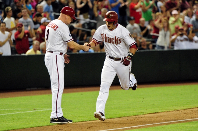 Jul 23, 2013; Phoenix, AZ, USA; Arizona Diamondbacks third baseman Martin Prado (14) celebrates with third base coach Matt Williams (9) after hitting a solo home run during the fifth inning against the Chicago Cubs at Chase Field. Mandatory Credit: Matt Kartozian-USA TODAY Sports