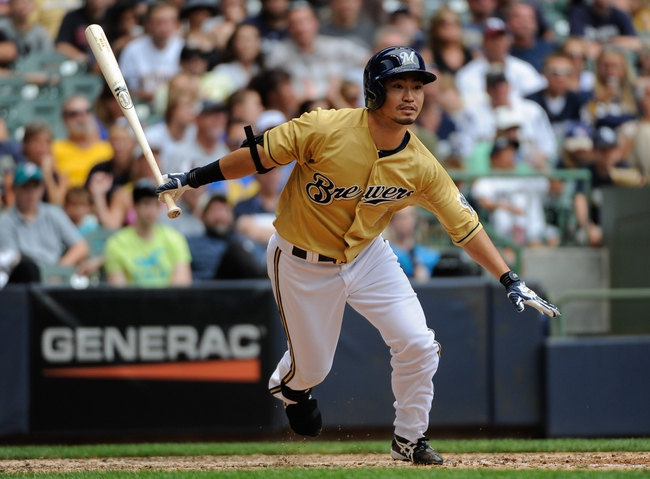 Jul 21, 2013; Milwaukee, WI, USA;  Milwaukee Brewers right fielder Norichika Aoki during the game against the Miami Marlins at Miller Park. Mandatory Credit: Benny Sieu-USA TODAY Sports