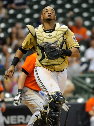 Jul 21, 2013; Milwaukee, WI, USA;  Milwaukee Brewers catcher Martin Maldonado during the game against the Miami Marlins at Miller Park. Mandatory Credit: Benny Sieu-USA TODAY Sports