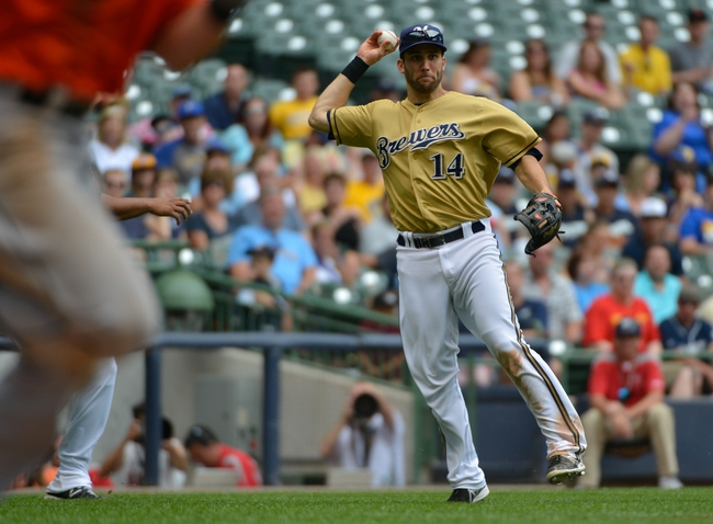 Jul 21, 2013; Milwaukee, WI, USA; Milwaukee Brewers shortstop Jeff Bianchi during the game against the Miami Marlins  at Miller Park. Mandatory Credit: Benny Sieu-USA TODAY Sports