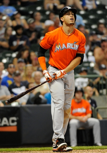 Jul 21, 2013; Milwaukee, WI, USA;  Miami Marlins right fielder Giancarlo Stanton during the game against the Milwaukee Brewers at Miller Park. Mandatory Credit: Benny Sieu-USA TODAY Sports