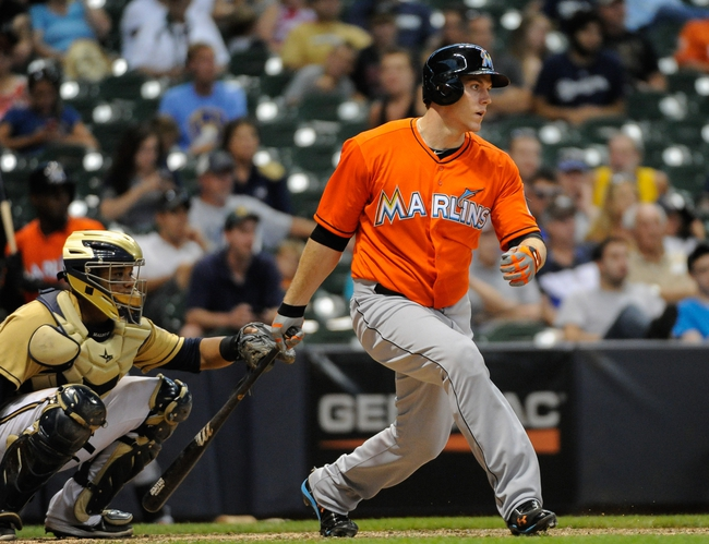 Jul 21, 2013; Milwaukee, WI, USA; Miami Marlins first baseman Logan Morrison during the game against the Milwaukee Brewers at Miller Park. Mandatory Credit: Benny Sieu-USA TODAY Sports