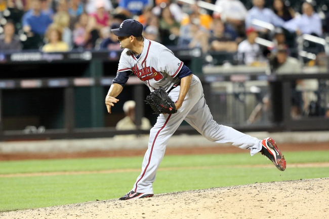 Jul 24, 2013; New York, NY, USA;   Atlanta Braves relief pitcher Luis Ayala (20) delivers a pitch during the ninth inning against the New York Mets at Citi Field Braves won 8-2.  Mandatory Credit: Anthony Gruppuso-USA TODAY Sports